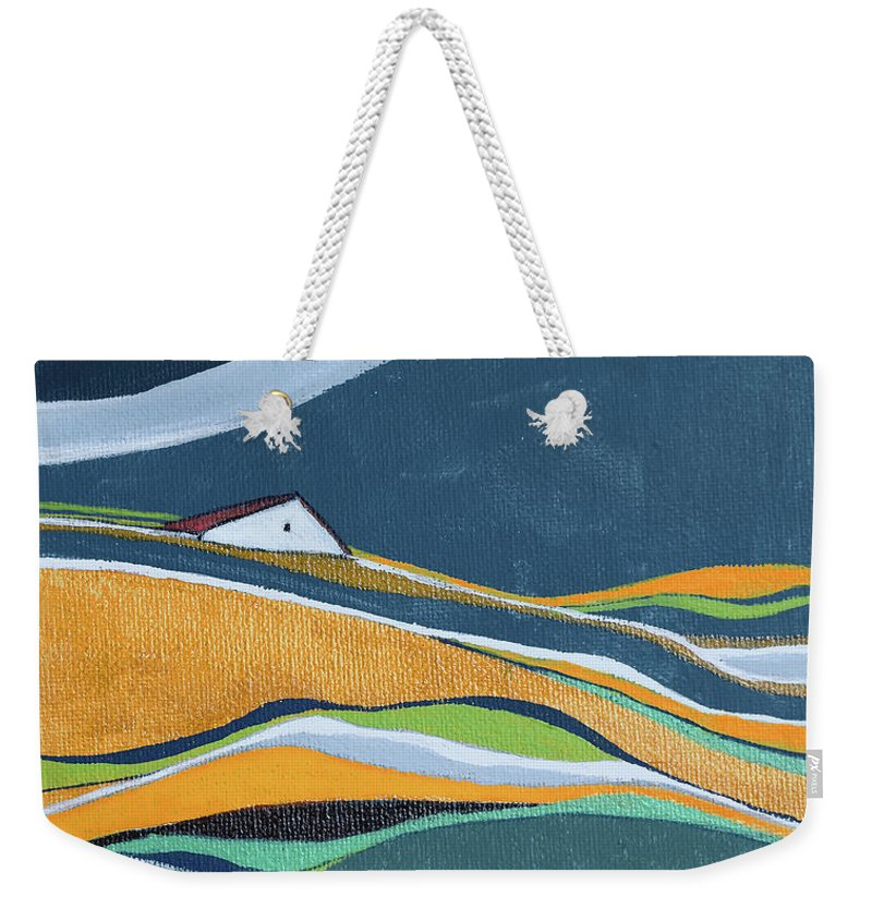 Abstract Weekender Tote Bag featuring the painting Distant House by Aniko Hencz