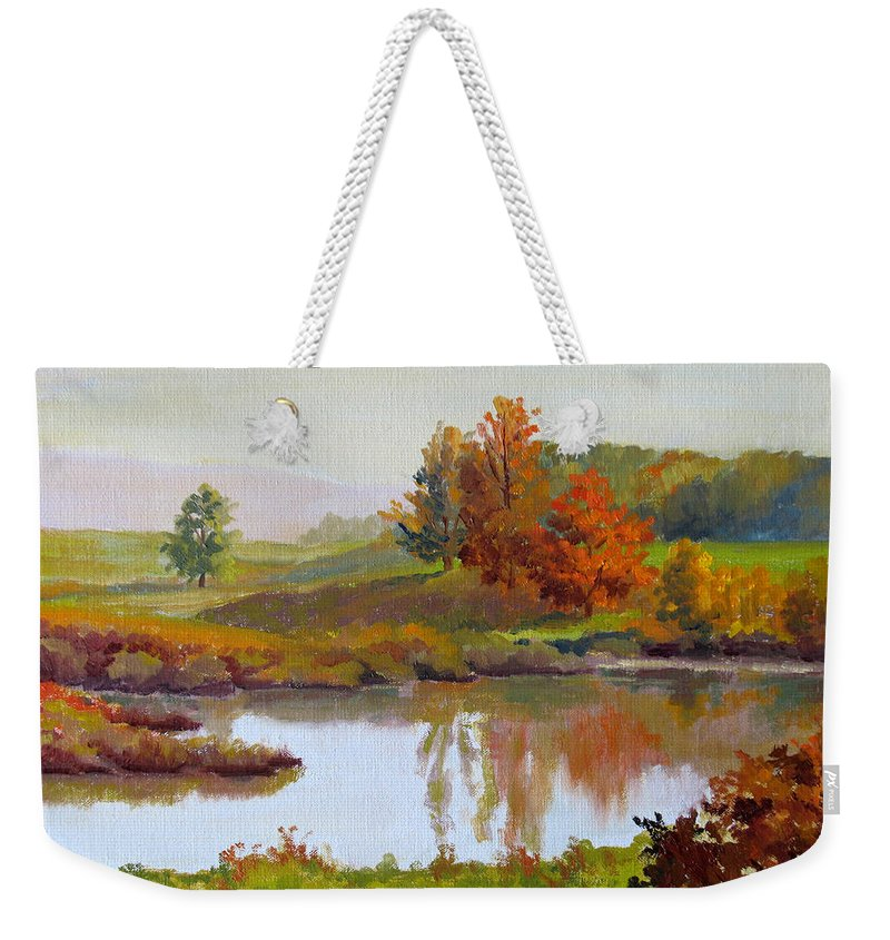 Landscape Weekender Tote Bag featuring the painting Distant Maples by Keith Burgess
