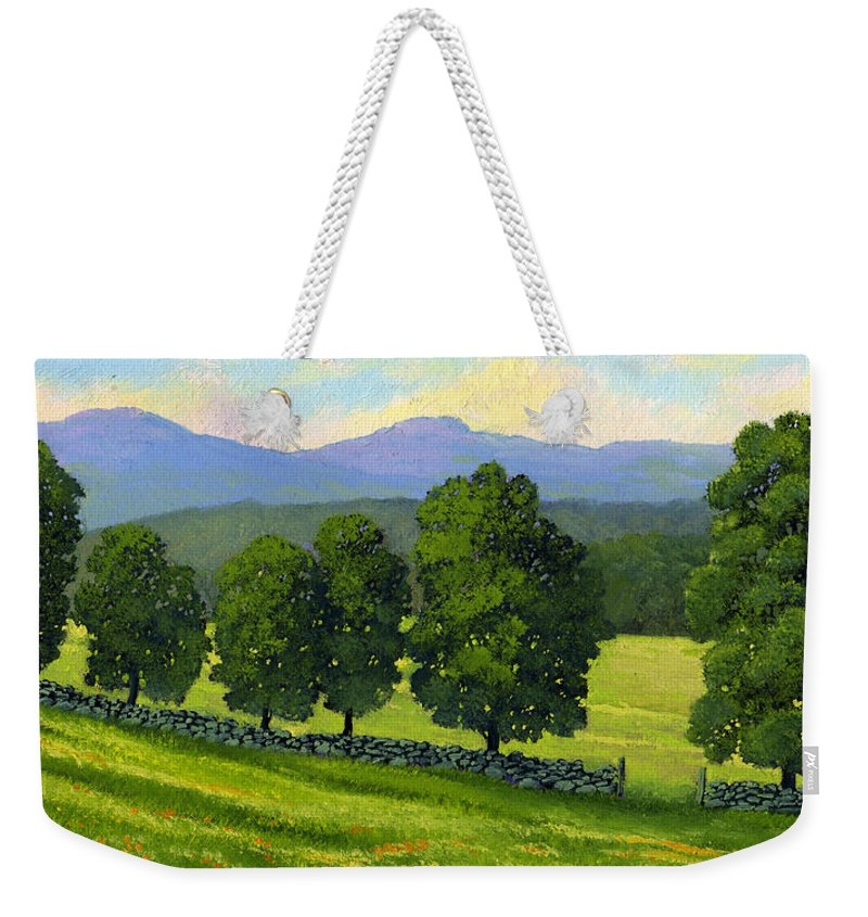 Landscape Weekender Tote Bag featuring the painting Distant Mountains by Frank Wilson