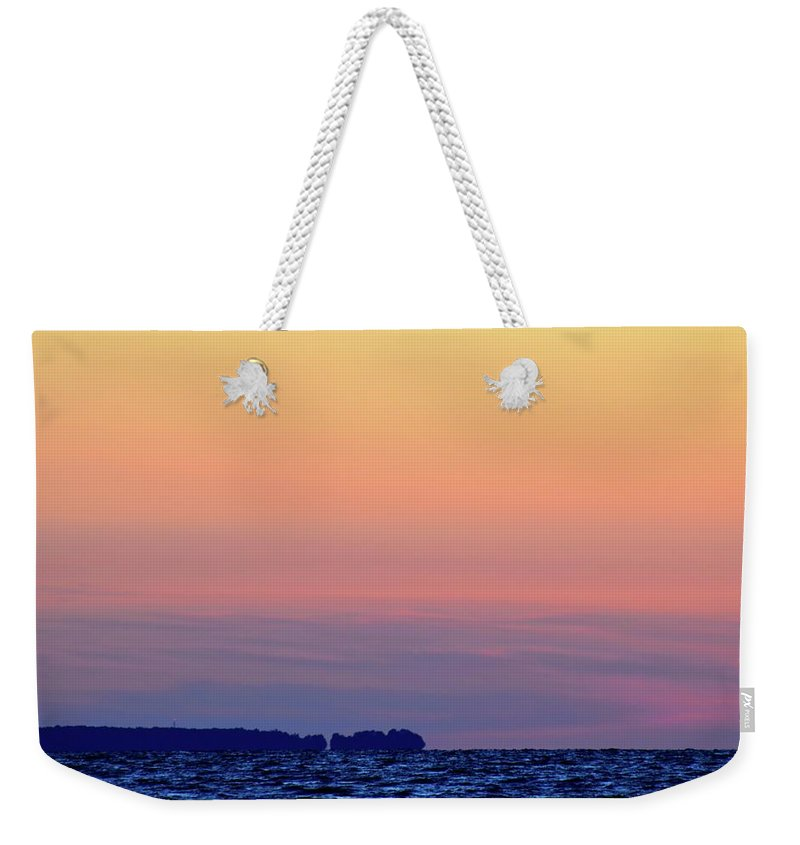 Abstract Weekender Tote Bag featuring the photograph Distant North Shore Of Lake Simcoe by Lyle Crump