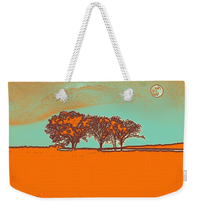 Nature Weekender Tote Bag featuring the painting Distant Trees Under Milkyway Horizon By Adam Asar by Adam Asar