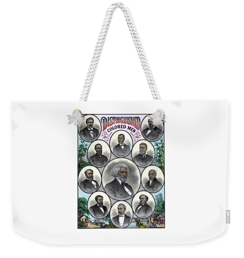 Black History Weekender Tote Bag featuring the painting Distinguished Colored Men by War Is Hell Store