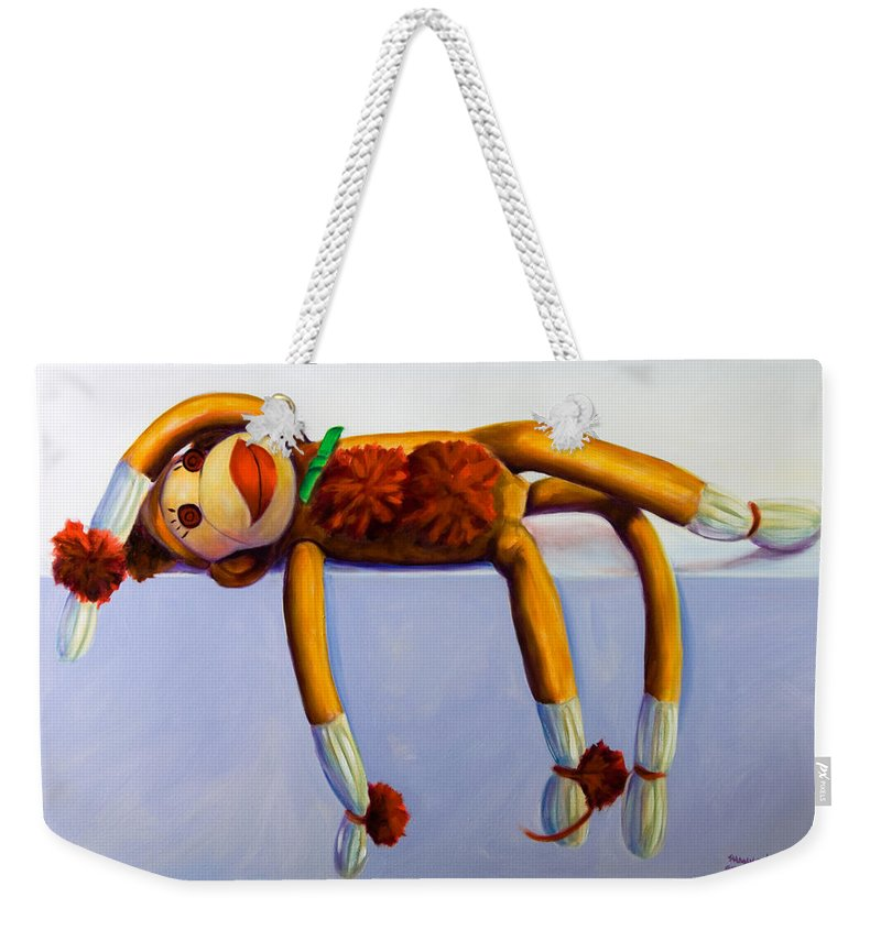 Diva Weekender Tote Bag featuring the painting Diva Made Of Sockies by Shannon Grissom