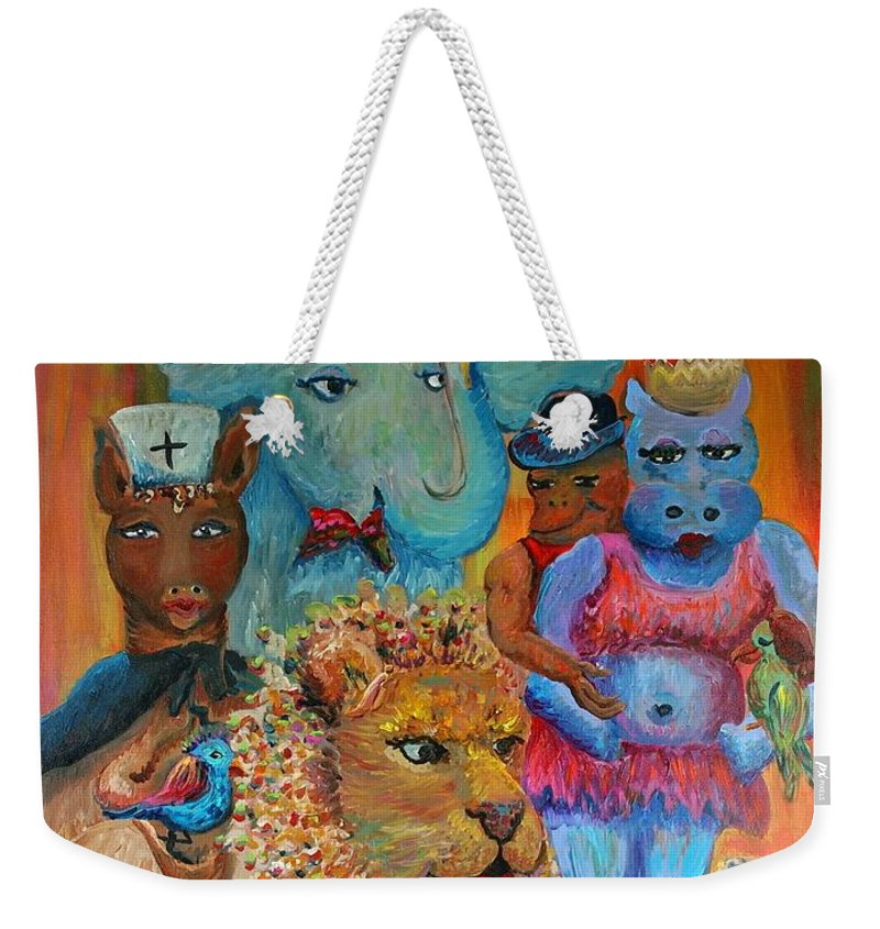 Diversity Weekender Tote Bag featuring the painting Diversity by Nadine Rippelmeyer