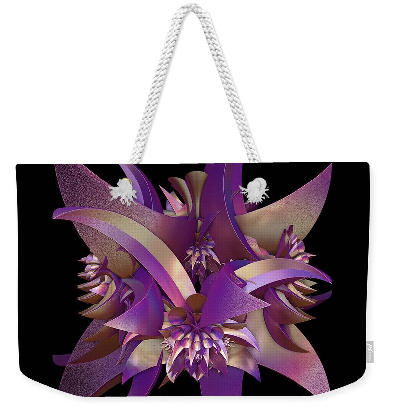 Purple Weekender Tote Bag featuring the digital art Divided by Sara Raber