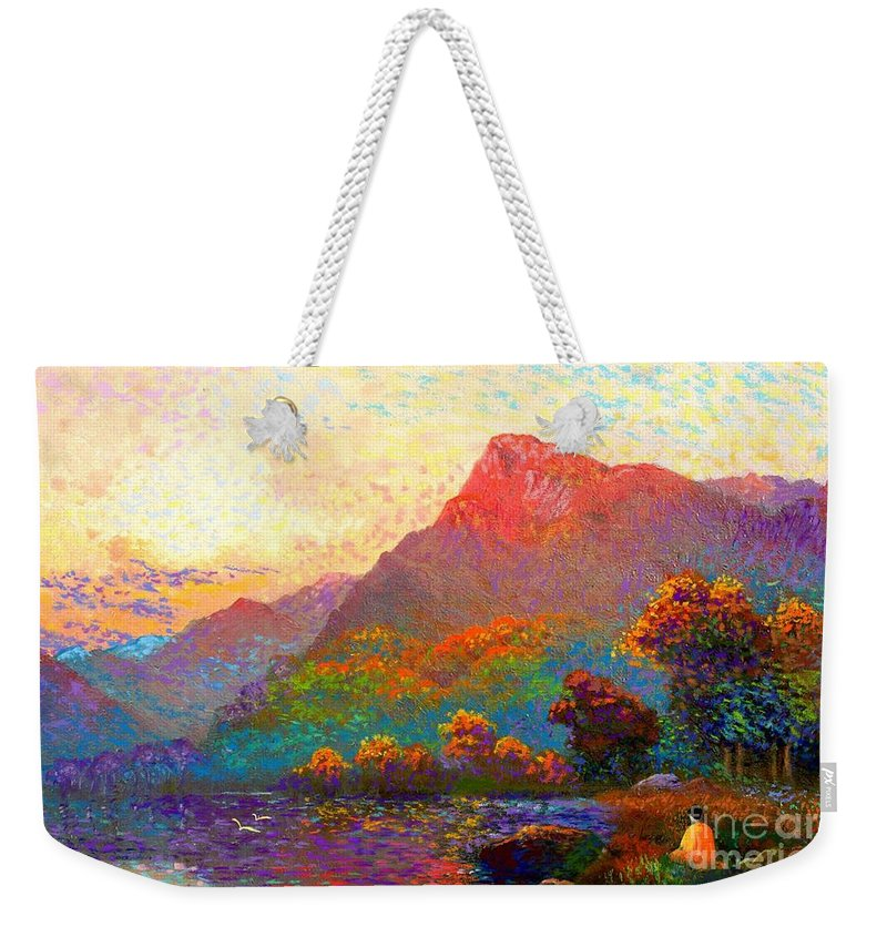 Meditation Weekender Tote Bag featuring the painting Buddha Meditation, Divine Light by Jane Small