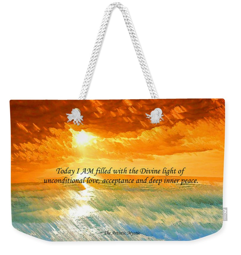 Inspirational Weekender Tote Bag featuring the digital art Divine Light - Ss1200b by Artistic Mystic