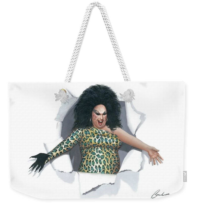 Divine Weekender Tote Bag featuring the painting Divine Pop Out by Bruce Lennon