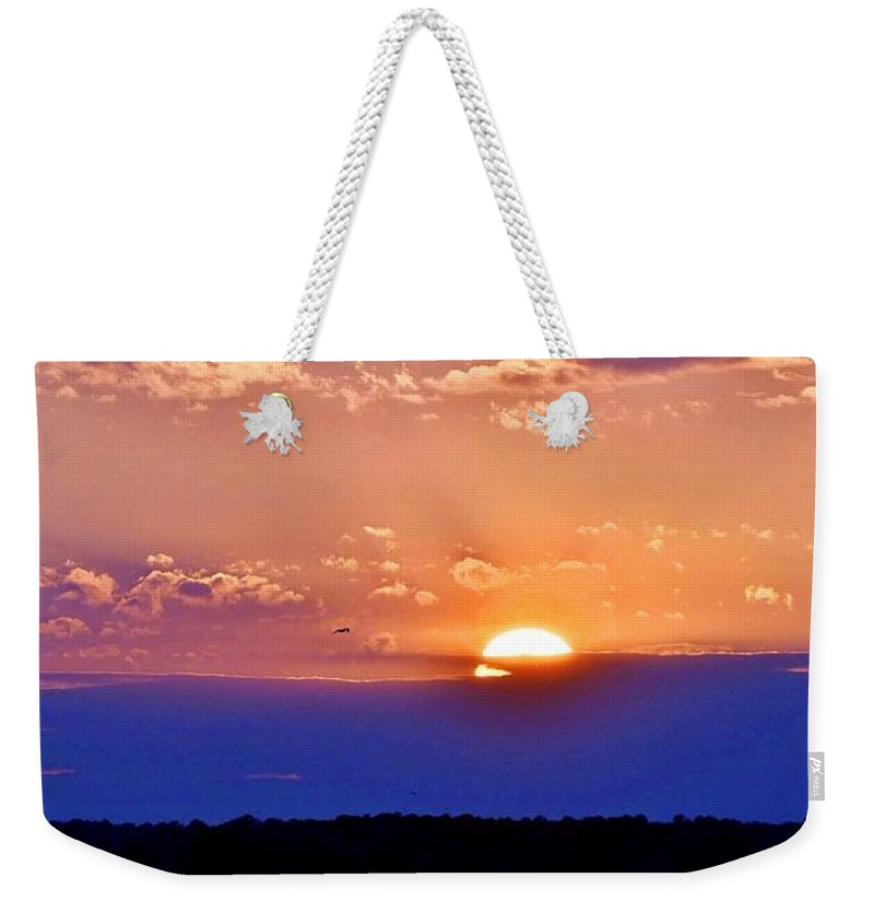 Sunset Weekender Tote Bag featuring the photograph Divine Sunset On The Indian River Bay by Kim Bemis