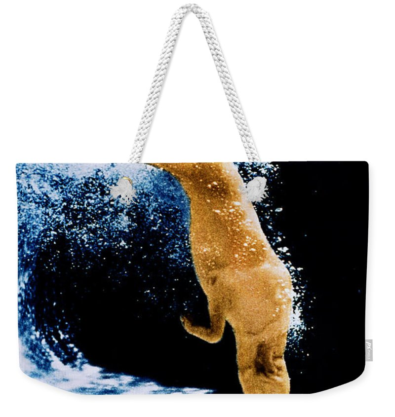 Pet Weekender Tote Bag featuring the photograph Diving Dog Underwater by Jill Reger