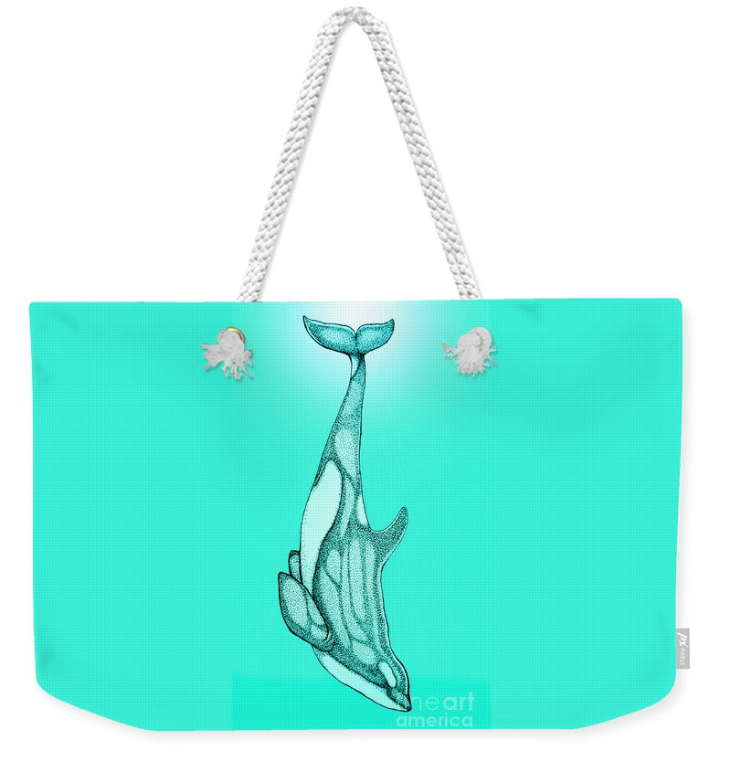 Orca Weekender Tote Bag featuring the drawing Diving Orca by Nick Gustafson