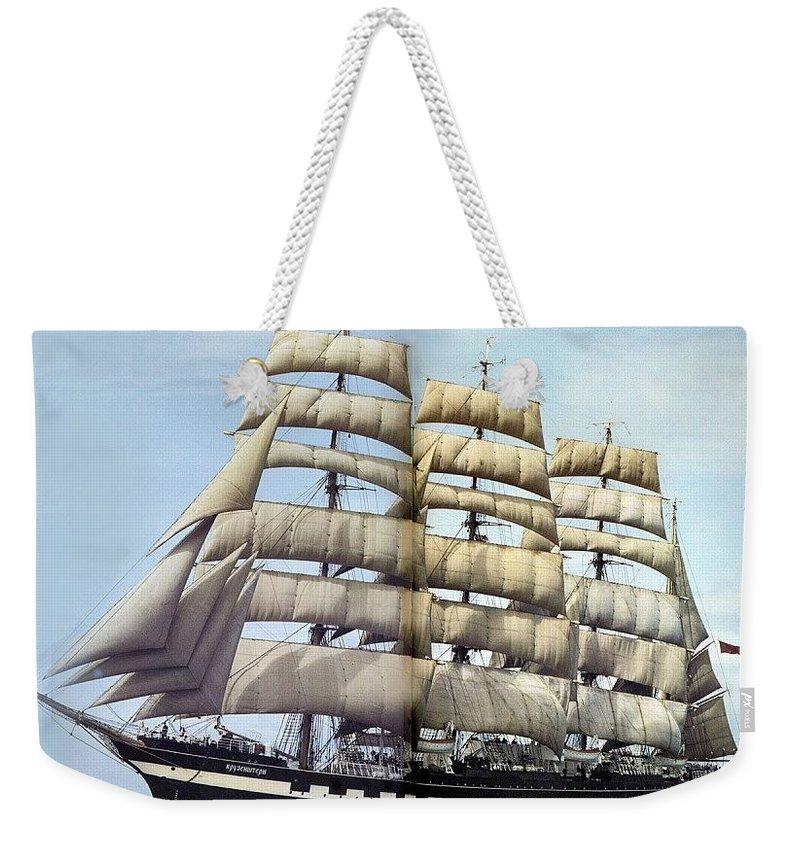 Sky Weekender Tote Bag featuring the digital art dk tall ships kruzenshtern barque lyr 1926 full D K Spinaker by Eloisa Mannion