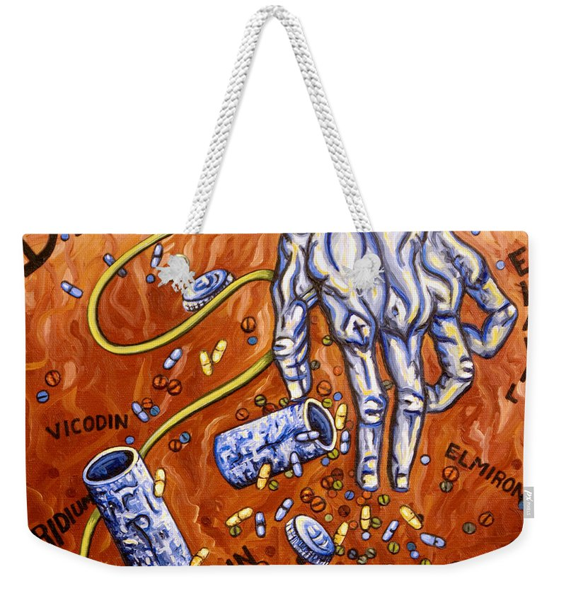 Pain Weekender Tote Bag featuring the painting Dmso by Judy Henninger