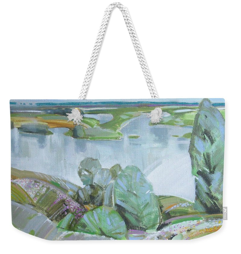 Landscape Weekender Tote Bag featuring the painting Dnepro River by Sergey Ignatenko