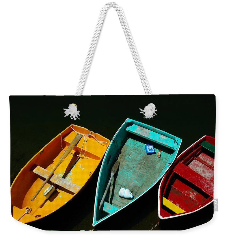Landscape Nautical Row Boat New England Rockport Weekender Tote Bag featuring the photograph Dnre0603 by Henry Butz