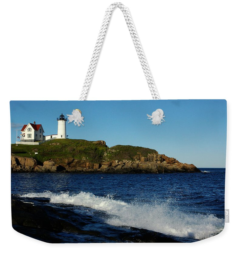 Landscape Lighthouse Nautical New England Cape Neddick Nubble Light Weekender Tote Bag featuring the photograph Dnre0608 by Henry Butz