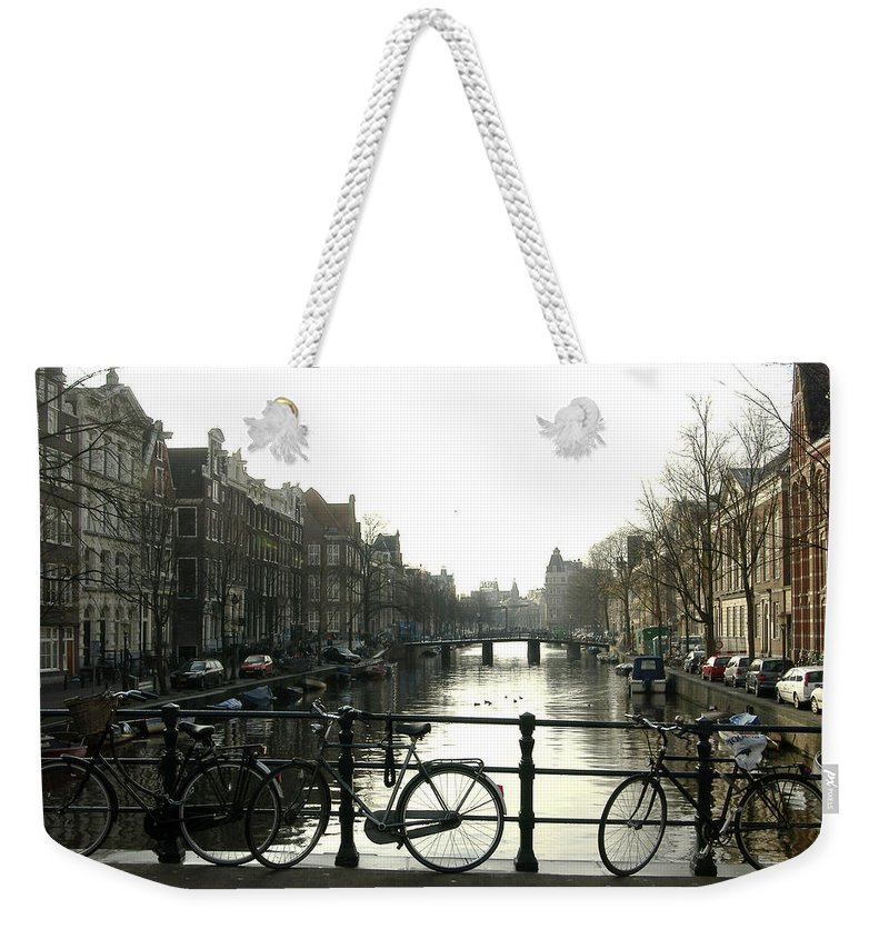 Landscape Amsterdam Red Light District Weekender Tote Bag featuring the photograph Dnrh1103 by Henry Butz