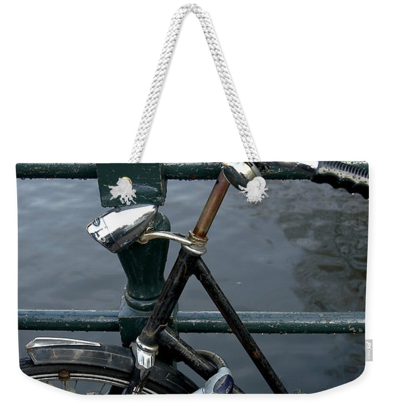 Landscape Amsterdam Red Light District Bicycle Weekender Tote Bag featuring the photograph Dnrh1104 by Henry Butz