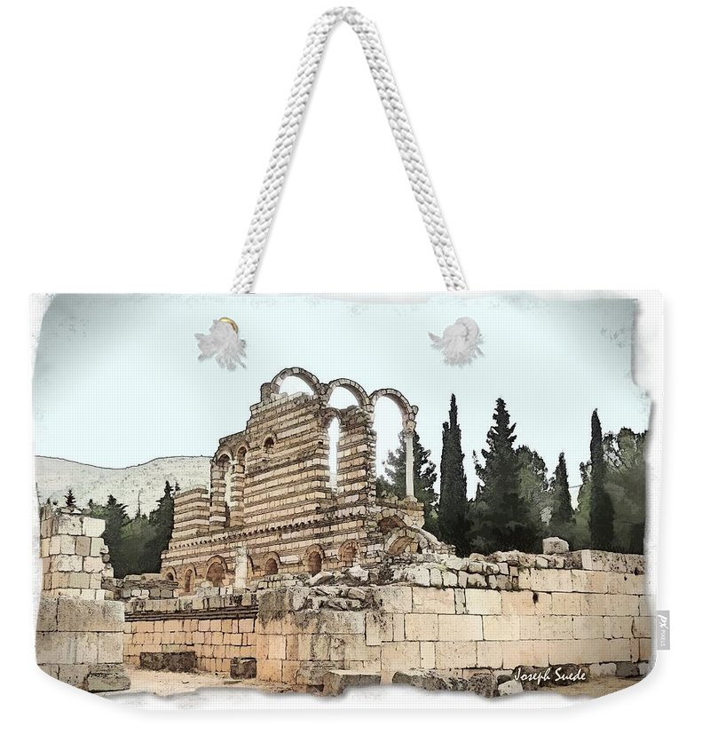 Ancient Weekender Tote Bag featuring the photograph Do-00306 Old Ruins In Anjar by Digital Oil