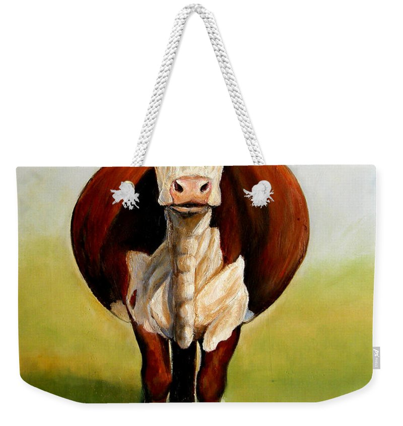 Hereford Weekender Tote Bag featuring the painting Do I Look Fat by Toni Grote