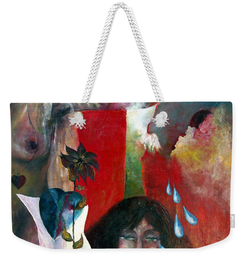 Imagination Weekender Tote Bag featuring the painting Do Not Cry by Wojtek Kowalski