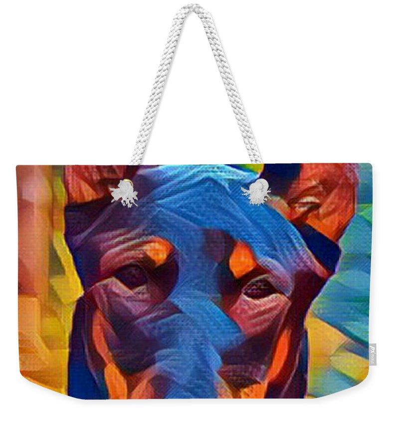 Doberman Weekender Tote Bag featuring the digital art Doberman I C by Dreana Stenz