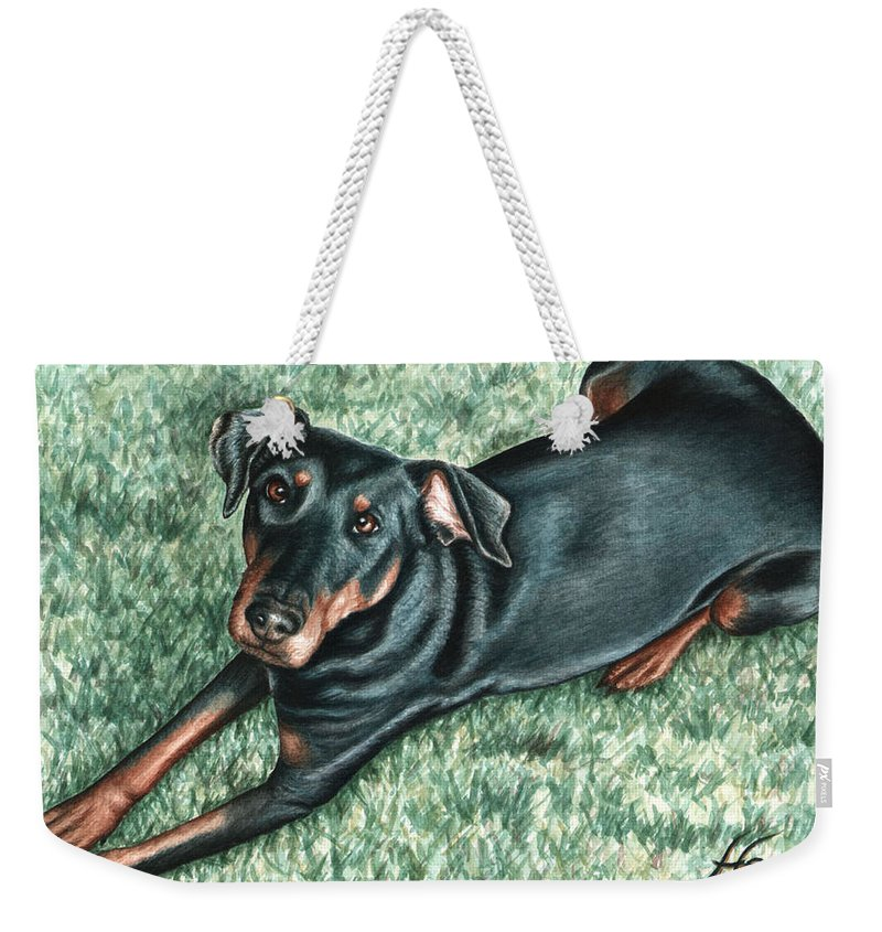 Dog Weekender Tote Bag featuring the painting Dobermann by Nicole Zeug