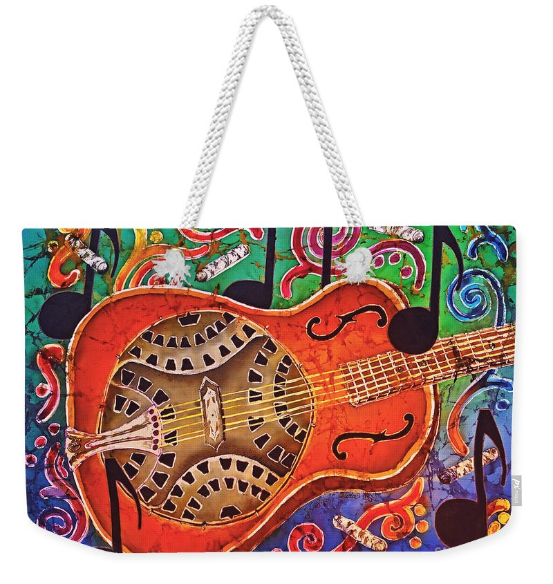 Dobro Weekender Tote Bag featuring the tapestry - textile Dobro - Slide Guitar by Sue Duda