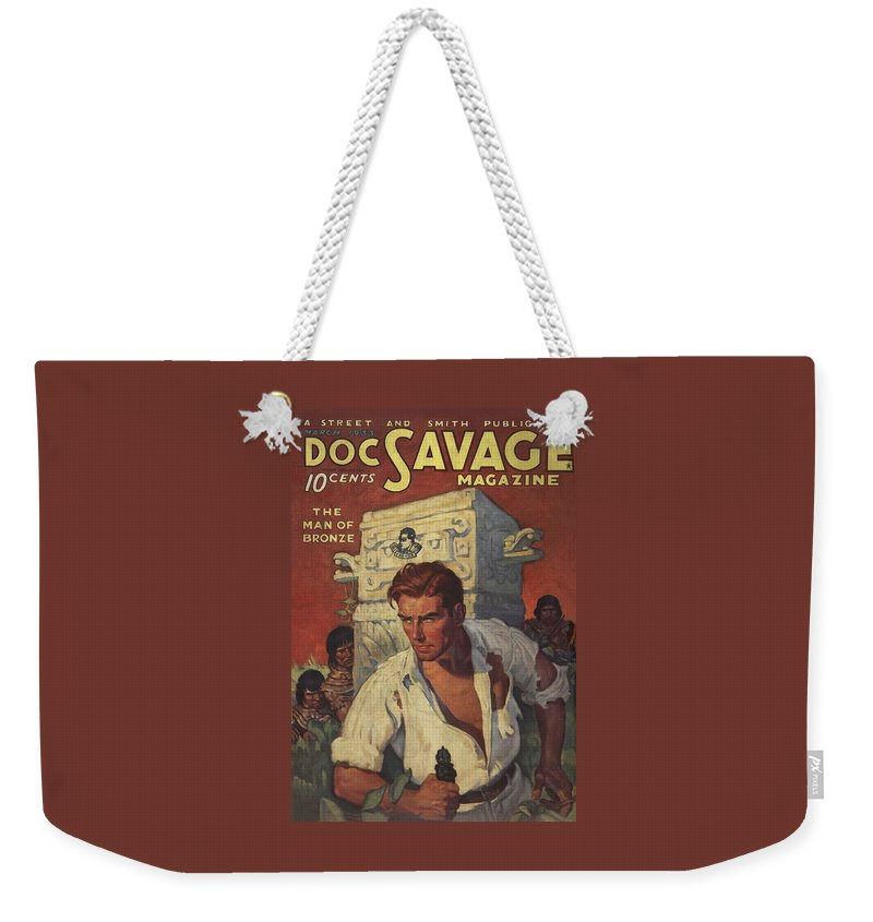 Comic Weekender Tote Bag featuring the drawing Doc Savage The Man Of Bronze by Conde Nast