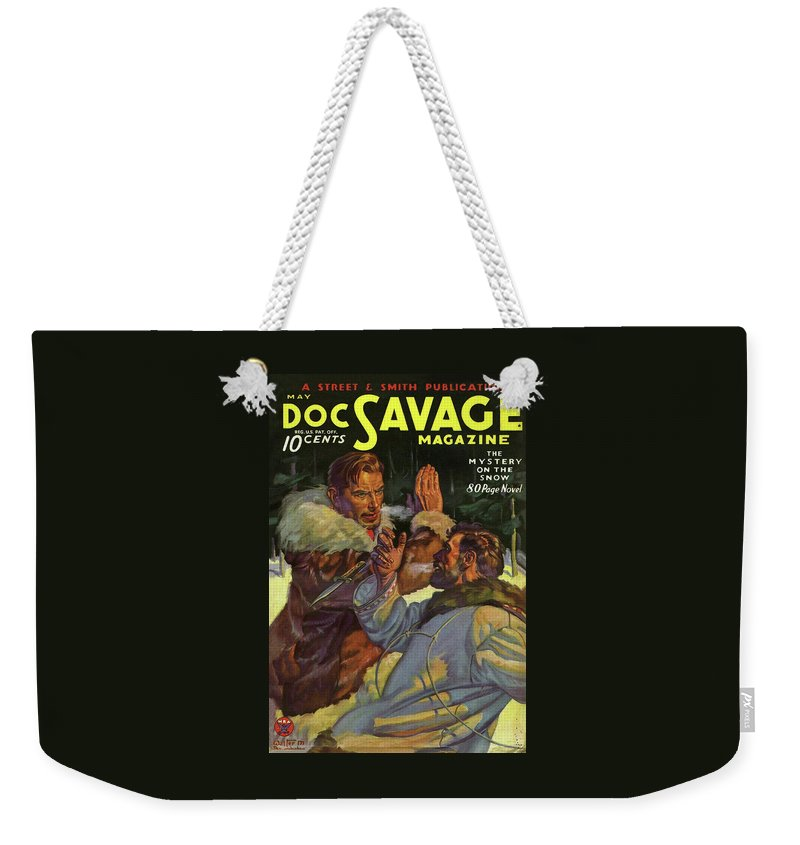 Comic Weekender Tote Bag featuring the drawing Doc Savage The Mystery on the Snow by Conde Nast