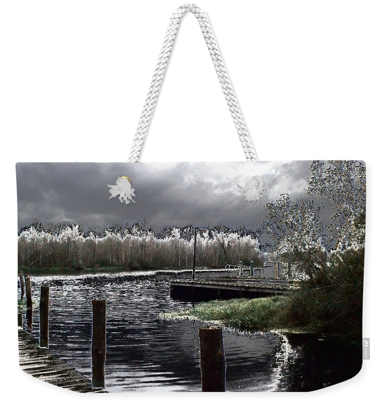 Dock Weekender Tote Bag featuring the photograph Dock At Dusk by Charleen Treasures