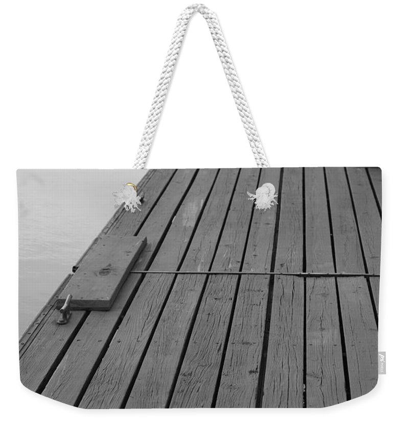 Dock Weekender Tote Bag featuring the photograph Dock In Black And White by Nadine Rippelmeyer