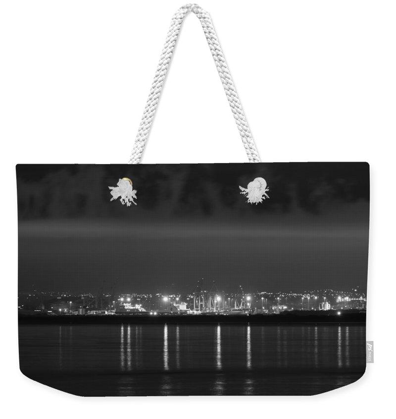 Dublin Weekender Tote Bag featuring the photograph Dock Lights Dublin by Robert Phelan