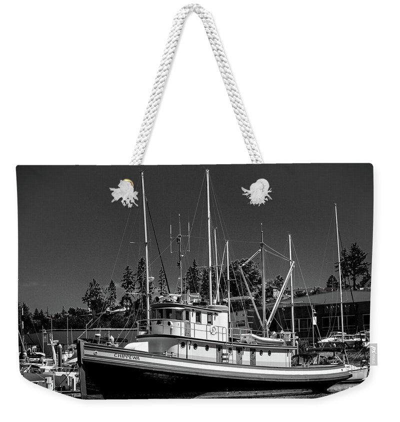 Fishing Boat Weekender Tote Bag featuring the photograph Docked Fishing Boat by Jason Brooks