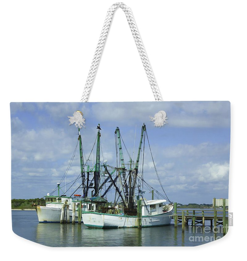 Fishing Weekender Tote Bag featuring the photograph Docked In Port Orange by Deborah Benoit