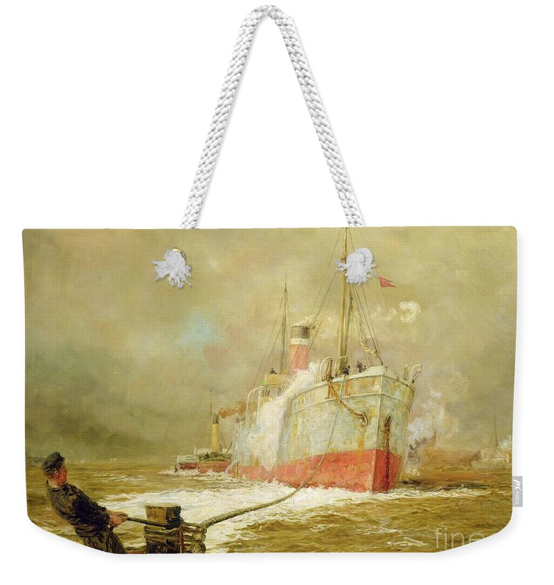 Docking Weekender Tote Bag featuring the painting Docking A Cargo Ship by William Lionel Wyllie