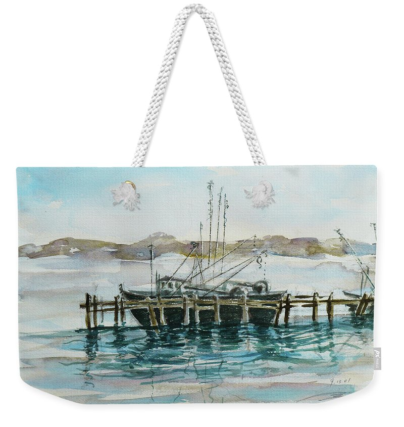 Boat Weekender Tote Bag featuring the painting Docking by Xueling Zou