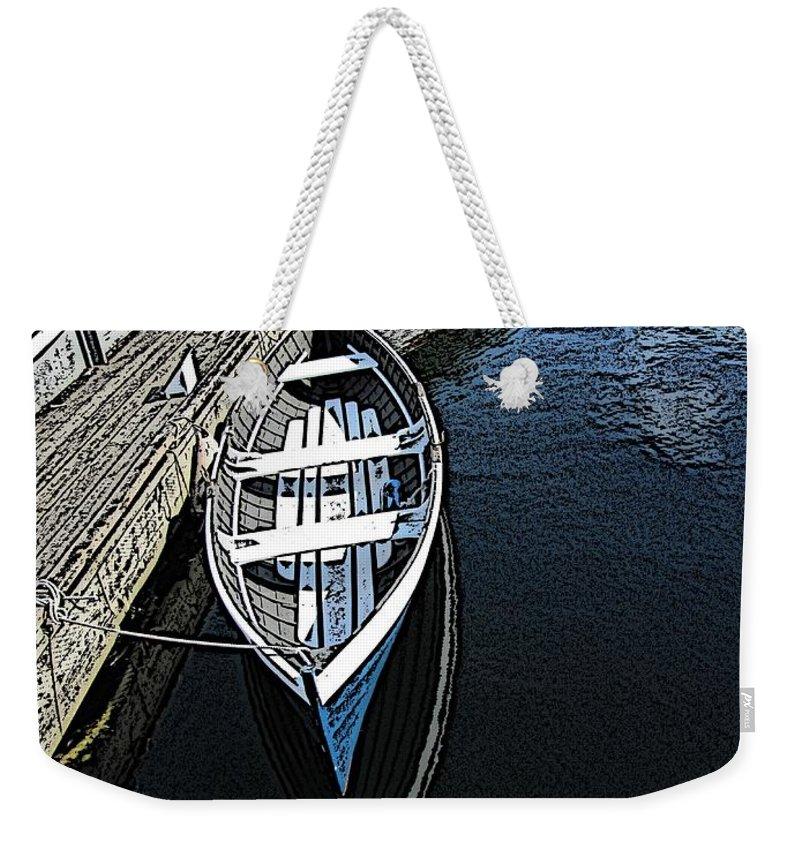 Dock Weekender Tote Bag featuring the digital art Dockside Quietude by Tim Allen