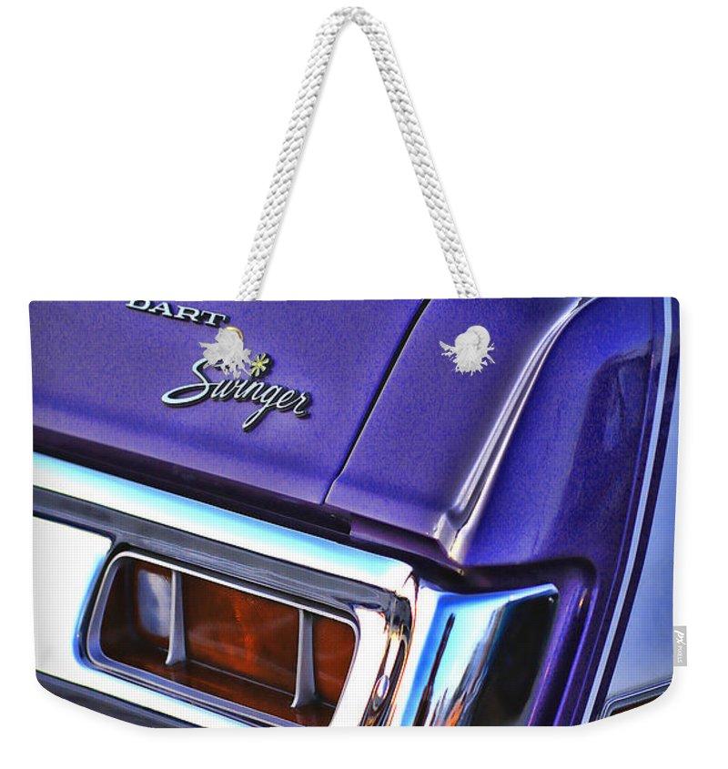 Dodge Weekender Tote Bag featuring the photograph Dodge Dart Swinger by Gordon Dean II