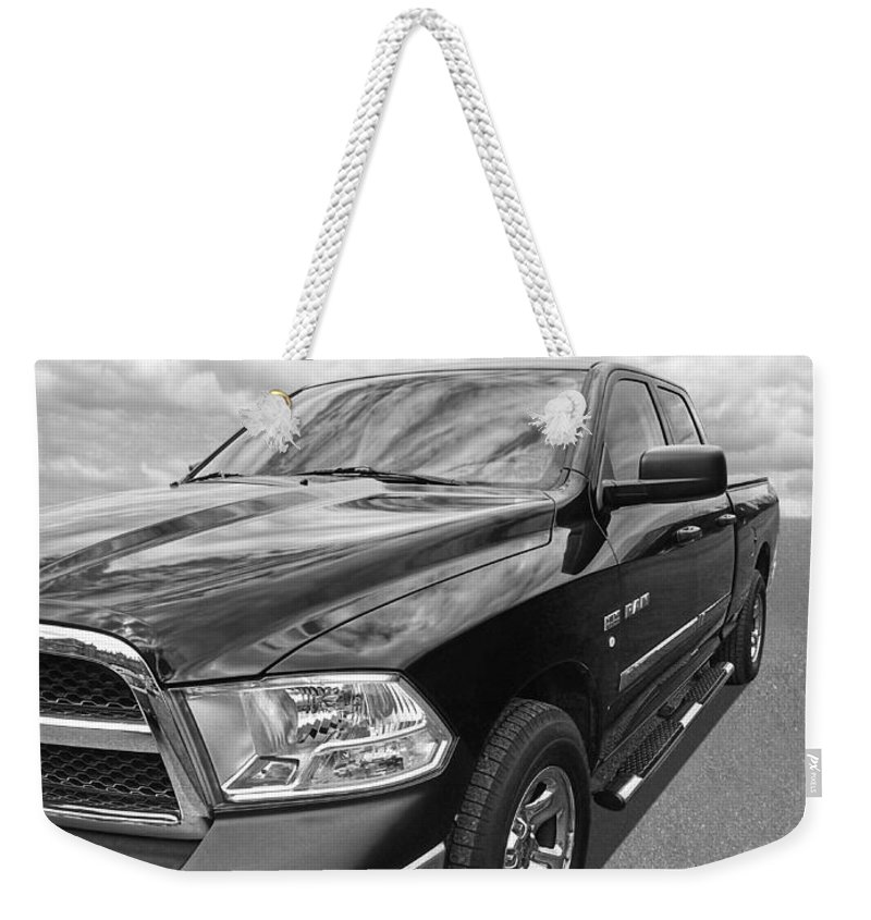 Dodge Truck Weekender Tote Bag featuring the photograph Dodge Ram 5.7 Hemi Black And White by Gill Billington