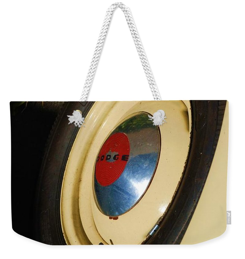 Truck Weekender Tote Bag featuring the photograph Dodge Tire by Rob Hans