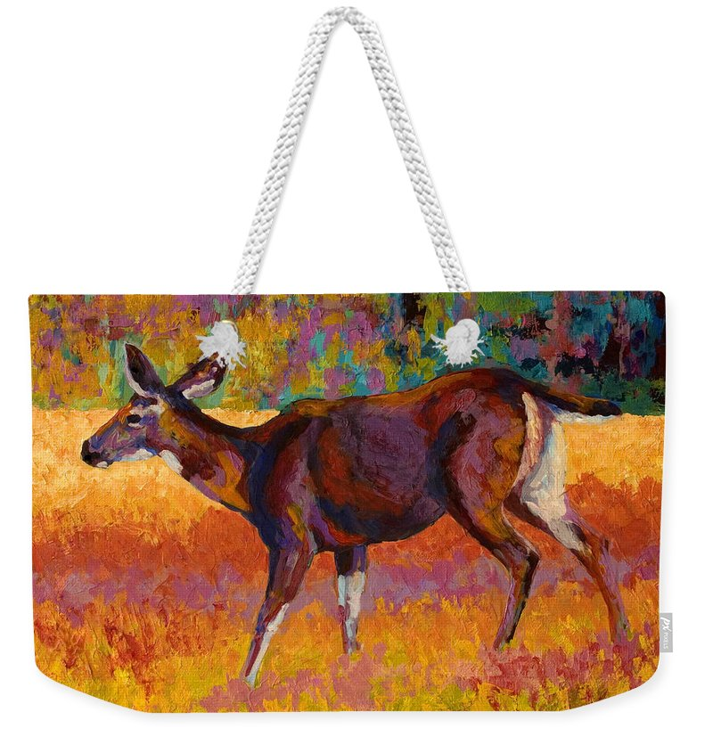 Deer Weekender Tote Bag featuring the painting Doe IIi by Marion Rose