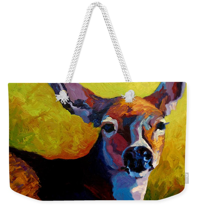 Western Weekender Tote Bag featuring the painting Doe Portrait V by Marion Rose
