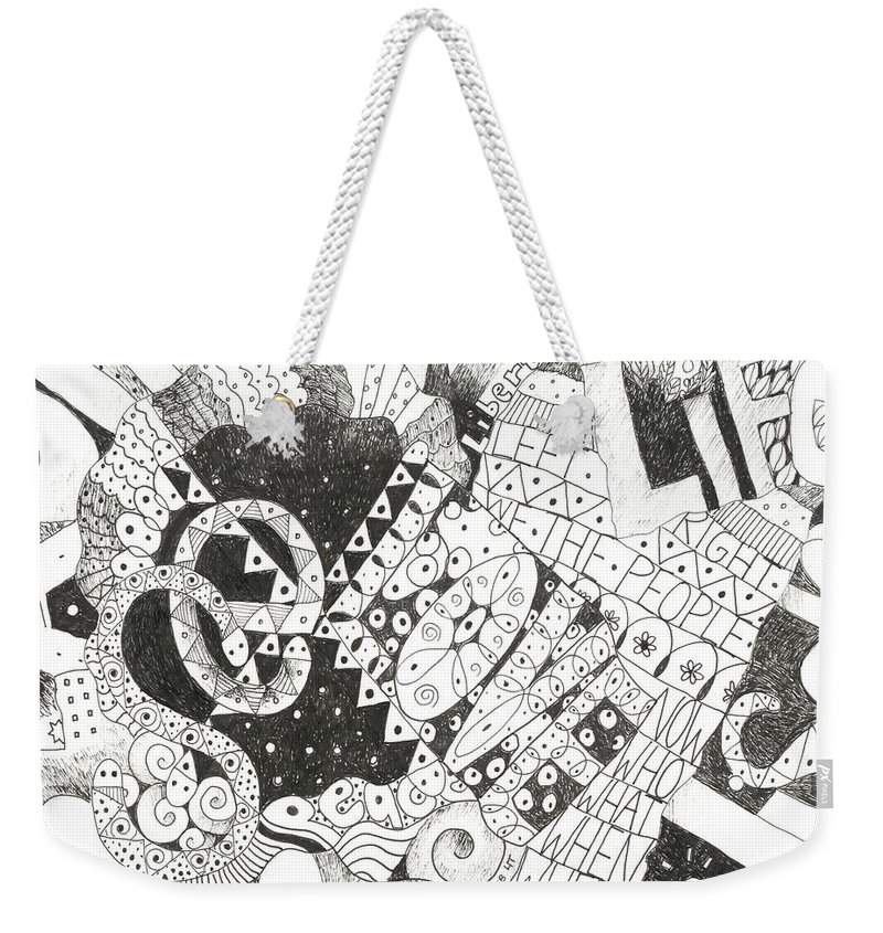Words Weekender Tote Bag featuring the drawing Does It Come With Instructions by Helena Tiainen