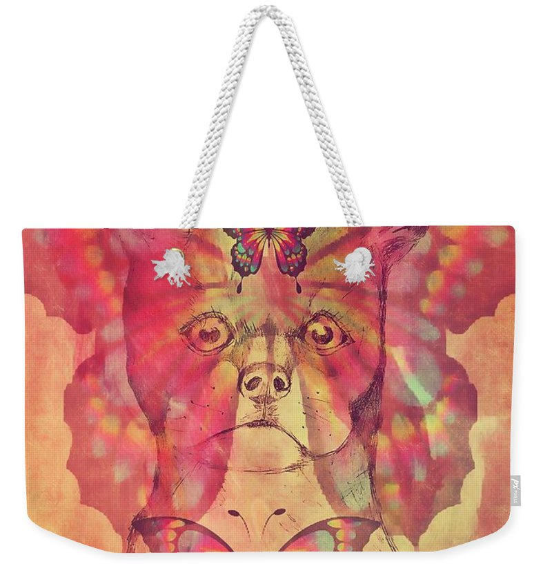 Dog And Buttetfly Weekender Tote Bag featuring the mixed media Dog And Butterfly by Maria Urso