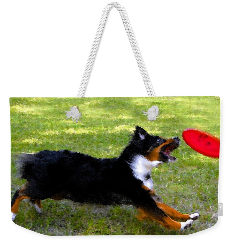 Frisbee Weekender Tote Bag featuring the painting Dog And Red Frisbee by David Lee Thompson