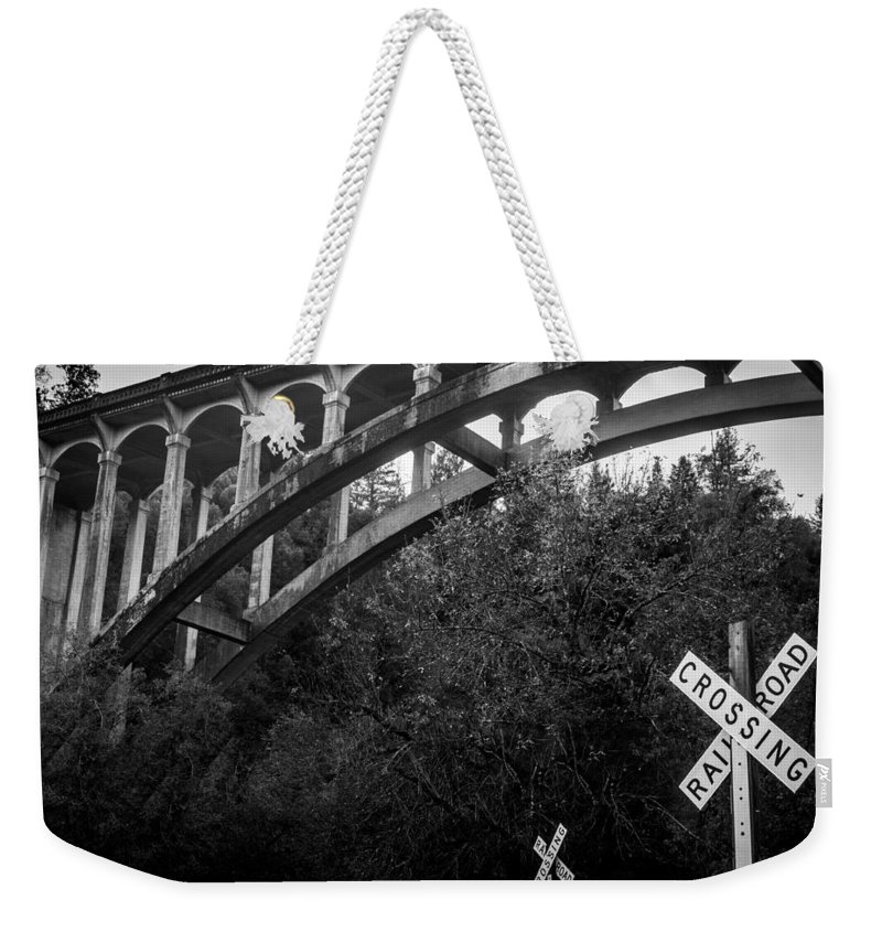 Historic Bridge Weekender Tote Bag featuring the photograph Dog Creek Bridge Railroad Crossing by Michele James