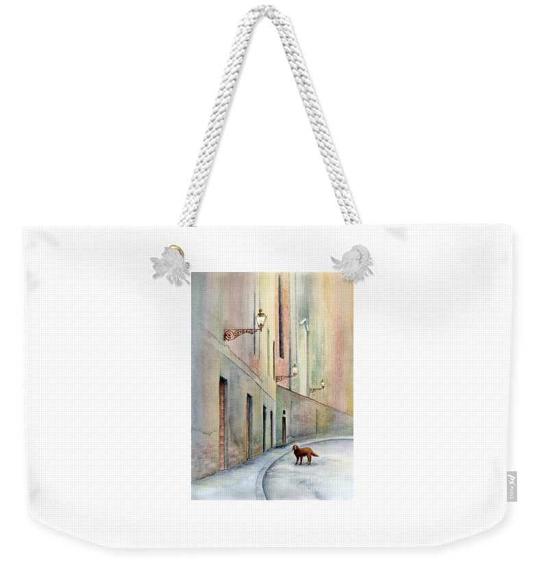 Paco Weekender Tote Bag featuring the painting Dog Days of Vicenza by Amy Kirkpatrick