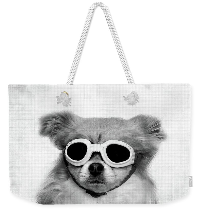 Black And White Dog Weekender Tote Bags