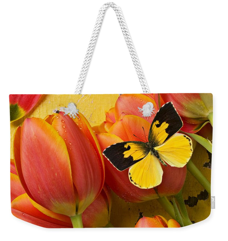 Butterfly Weekender Tote Bag featuring the photograph Dogface Butterfly And Tulips by Garry Gay